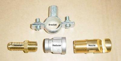 Field Broadcast Spray Nozzle with Reducer, Hosetail and Bracket
